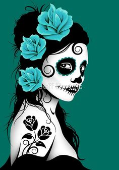 Teal Blue Day of the Dead Sugar Skull Girl | Jeff Bartels