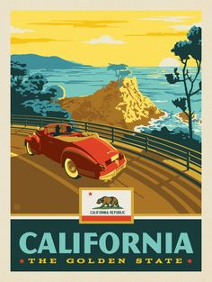 Anderson Design Group – American State Pride – California State Pride (Coastline) Art Deco Posters, Retro Posters, Poster Prints, Voyage Usa, National Park Posters, National Parks, Graphisches Design, Vintage California, California Art