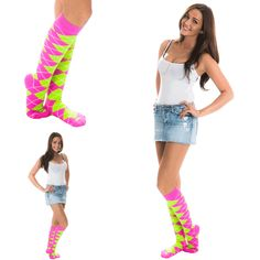 How to Style an Outfit w/knee high socks. Stonewash mini-skirt, white spaghetti strapped tank top, with funky neon argyle knee highs. Knee Socks, High Socks, School Girl Outfit, Girl Outfits, Neon Green, Pink And Green, Argyle Socks, Bright Pink, Mini Skirts