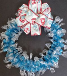 Candy Wreath Gift Blue Mints Candy Ice by CandyWreathsbyCarla