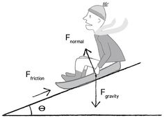 Normal Force- Is the support force exerted upon an object that is in contact with another stable object. IN the picture the normal force is the ramp that is holding up the sled rider.