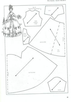 Free Barbie Patterns to PrintSeveral historical doll clothes patterns. They're photocopies of pages in French, so there will be some guesswork on my part.style Georges VThe music of the rain: Instead of the promised dolls - yet dresses for dolls…Ne Barbie Sewing Patterns, Doll Dress Patterns, Costume Patterns, Sewing Dolls, Clothing Patterns, Gown Pattern, Barbie Mode, Free Barbie, Half Dolls