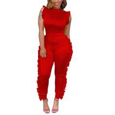 2018 summer Ruffle Jumpsuit Women high Neck Sleeveless Summer Jumpsuit  Office Work Wear Elegant slim Leg Jumpsuit JS369. Yesterday's price: US $18.45 (16.04 EUR). Today's price: US $14.76 (12.83 EUR). Discount: 20%.