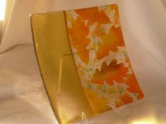 W Wooding Amber Leaves Fused Glass
