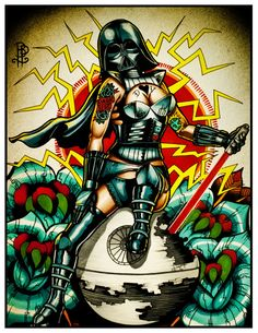 Old School Darth Vader Pin up Tattoo Flash Print on Etsy, $15.50