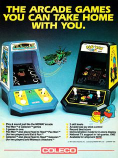 The Arcade Games You Can Take Home With You. Galaxian & Pac-Man Tabletop Arcade Ad from Coleco/Midway (via::I'm So Retro) Mine was Donkey Kong! Pac Man, Vintage Video Games, Retro Video Games, Retro Games, Game Boy, Childhood Toys, Childhood Memories, School Memories, Peter Et Sloane