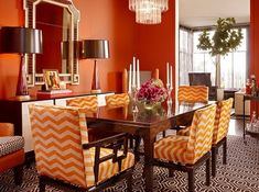 Pair copper orange with white and patterns for a distinctive ensemble. Try our Maui Mai Tai KMA50 #PaintColors #Fall #Diningroom