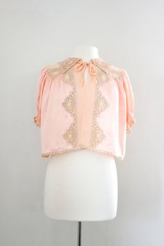 Vintage 1940's Blush Pink Silk and Lace Bed Jacket at CutandChicVintage