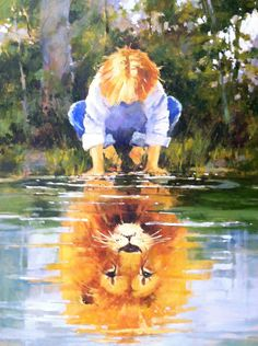 He's living on the inside, roaring like a lion! Prophetic Art by Marilyn Simandle -- ja m says: I May Yet be Small, but in CHRIST, Noble and Mighty am I! Art And Illustration, Art Prophétique, Prophetic Art, Lion Of Judah, Lion Art, Christian Art, Painting & Drawing, Lion Painting, Lions