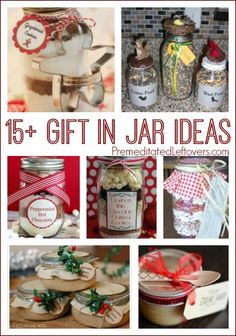 Frugal and easy gift ideas - 15 gifts in jars. You can easily create a gift in a jar with one of these recipes or tutorials.