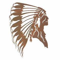 "8"" Indian Chief Metal Wall Art"