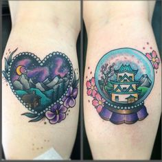 By @melaniemilnetattoos - cute cabin and japan snow globe tattoo #Padgram