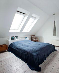 Mix of old and new in a Copenhagen rooftop apartment (Studio Anu Reinson) Home Bedroom, Bedroom Decor, Small Bedroom Designs, Attic Remodel, Secret Rooms, Attic Rooms, Beautiful Interiors, Ideal Home, Room Inspiration