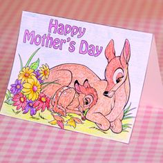 Free #Printable Bambi #MothersDay Card - doing-disney.com #Disney