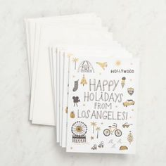 Send holiday greetings from LA. Blank inside. Letterpress printed in Portland, Oregon on 100% recycled paper. <br><br> 6 - A6 folded cards (4.5 x 6.25) <br> 6 - white envelopes