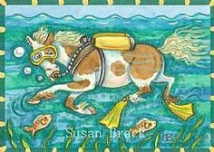 Chincoteague Island Pony swimming to the mainland.  Susan Brack Original Scuba Diver Horse Humor Art EBSQ