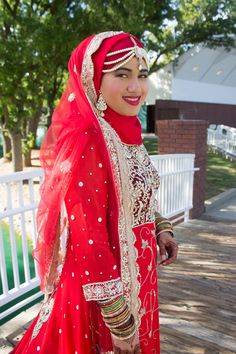 Hijab Muslim bride ideas- Indian, Pakistani, Fijian style wedding lehenga dress red, gold & silver.