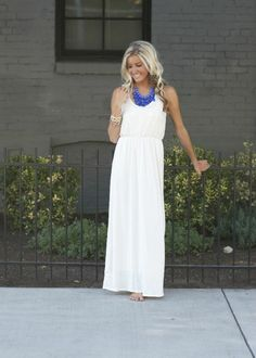 Simple white maxi with statement necklace... I love this