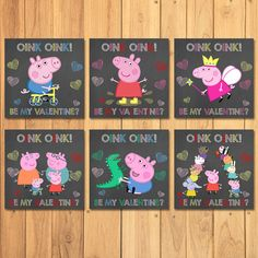 Peppa Pig Valentine's Day Cards Chalkboard Value by SometimesPie