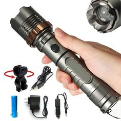 GWH 1000 Lumen CREE XML T6 LED Flashlight Zoomable Tactical Torch Light 5 Mode Camping Lamp with Battery Charger Bike Holder *** This is an Amazon Affiliate link. Find out more about the great product at the image link.