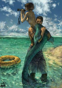 The Little Mermaid by on DeviantArt Fantasy Kunst, Fantasy Art, Mythical Creatures, Sea Creatures, Mermaids And Mermen, Merfolk, Mermaid Art, The Little Mermaid, Amazing Art