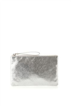 Upgrade looks with must-have metallic. Style this statement clutch against wintery grey and cream separates for a chic, current finish.