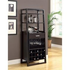 @Overstock - This ladder-style bar unit has 15 storage compartments for wine bottles. The wood and MDF piece also has a storage drawer, two shelves and a rack for hanging glasses.  http://www.overstock.com/Home-Garden/Cappuccino-60-inch-Ladder-Style-Bar-Unit/6813554/product.html?CID=214117 $309.99