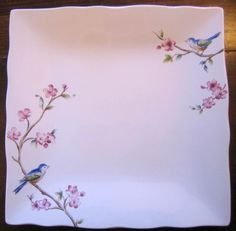 Birds are hot. Perfect for wall cabinet or snack. Square Plate Set, Engraved Plates, Pink Blossom, Cherry Blossoms, Fabric Birds, Kitchen Themes, Plate Design, China Painting, Pottery Painting