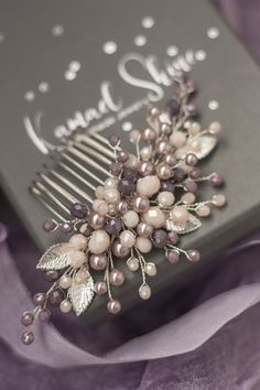 Items similar to Powder lavender bridal hair comb, Dusty purple pearl wedding hair piece, Beige bride headpiece, Floral hairstyle accessory, Hair leaf jewel on Etsy Bridal Comb, Bridal Hairpiece, Wedding Hair Pins, Hair Decorations, Floral Hair, Wedding Hair Accessories, Hair Jewelry, Hair Pieces, Princess Hair