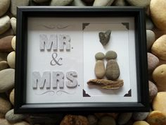 Mr & Mrs, Hand made pebble art, stone art, driftwood art, engagement, wedding gift by madebynatureandme on Etsy
