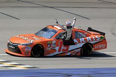 At-track photos: Michigan, Saturday:   Saturday, June 11, 2016  -   Daniel Suarez celebrates his victory. Suarez became the first Mexican-born driver to win in a NASCAR national series.