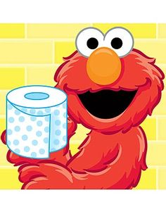 Image of Elmo holding toilet paper