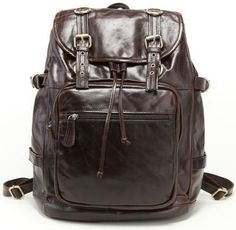 Genuine Leather Casual Travel Backpack by Serbags Vintage Leather Backpack,  Leather Briefcase, Canvas Backpack 0d2044b8a4