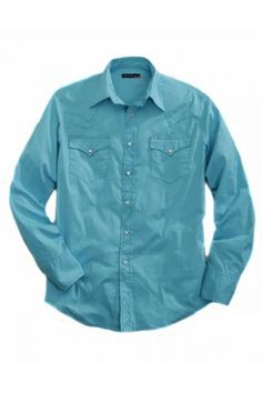 Solid Turquoise Stretch Poplin Tin Haul Collection Long Sleeve Urban Western Wear