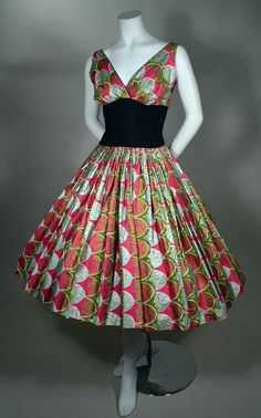 ALFRED SHAHEEN! - EXTRAORDINARY SILVER & GILT SPLASHED HOT PINK & OLIVE GREEN HAND PRINTED BOUFFANT SUNDRESS - HAWAIIAN.  Available for sale at rpvintage.com.