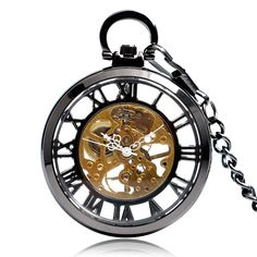 Luxury Transparent Glass Cover Open Face Classic Roman Number Mechanical Hand Winding Retro Skeleton Pocket Watch Chain Pendant