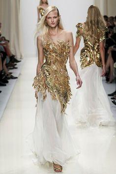 Valentin Yudashkin Gold beaded feathery, organic feeling gown with white chiffon bottom. #ss14