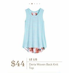 Stitch Fix: Le Lis Deria Woven Back Knit Top - love the sky blue stripes with that adorable floral back