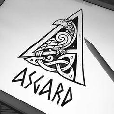 Norse Tattoo, Tattoo On, Celtic Tattoos, Viking Tattoos, Crows Drawing, Bird Drawings, Norse Runes, Viking Runes, Viking Symbols