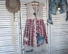 Midi Boho Lace Dress S/M, Prairie Chic, Junk Gypsy, Hippie, Upcycled Clothing