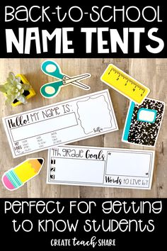 These back to school name tents are perfect for learning students' names and getting to know them during the first days of school. This is part of my back to school pack, which includes First Day Of School Activities, 1st Day Of School, Beginning Of The School Year, Middle School, High School, 4th Grade Classroom, School Classroom, Classroom Activities, Future Classroom