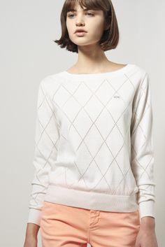 Lacoste - L!ve Long Sleeve Diamond Pointelle Sweater ($70)
