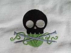 Skull & Knitting Needles Embroidered Canvas Tote