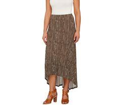 Lisa Rinna Collection Hi-Low Hem Maxi Skirt with Seam Detail