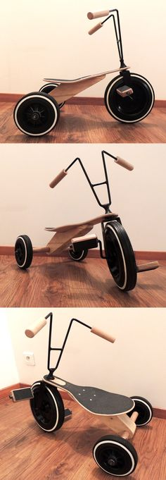 Tricycle bois enfant Kids Trike, Toddler Bike, Wood Toys Plans, Kids Bicycle, Balance Bike, Kids Ride On, Bike Design, Diy Toys, Toys For Girls