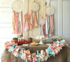 Boho Chic Fabric Garland for Birthdays Showers by QuiltedCupcake