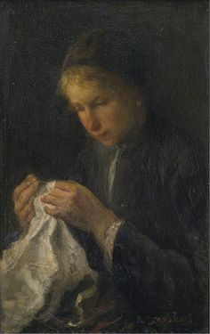 Jozef Israels - Woman Sewing