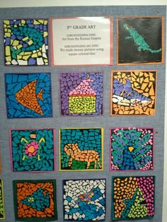 3 rd grade torn paper mosaics Byzantine art www.timelinestaircase.com