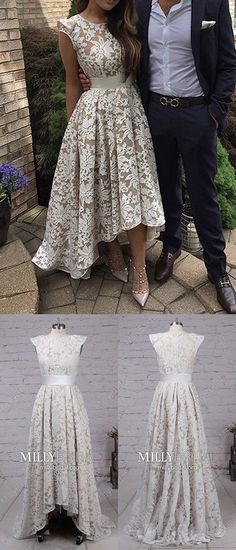 High Low Prom Dresses For Teens,Unique Formal Evening Dresses A-line,Asymmetrical Graduation Pageant Dresses Lace,Wedding Party Dresses 2018 Cap Sleeves #MillyBridal #highlow #promdress #pageantdresses