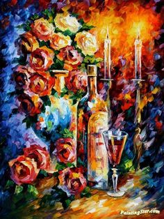 Red wine Artwork by Leonid Afremov Hand-painted and Art Prints on canvas for sale,you can custom the size and frame